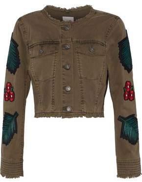 Cinq à Sept Halina Cropped Appliquéd Denim Jacket