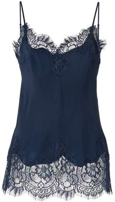Gold Hawk lace-trim silk top