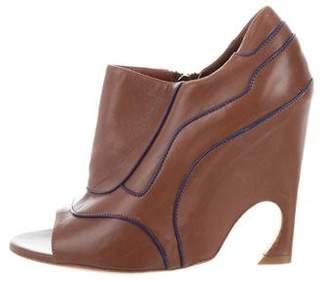 Christian Dior Leather Peep-Toe Booties