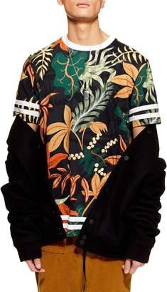 Topman Tape Floral Print T-Shirt