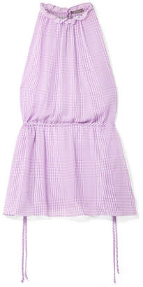 Lela Rose Ruffled Checked Silk-chiffon Top - Purple