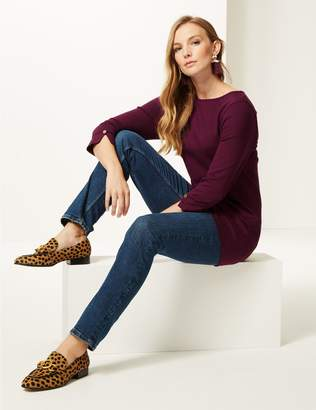 Marks and Spencer Cotton Rich Round Neck 3/4 Sleeve Tunic