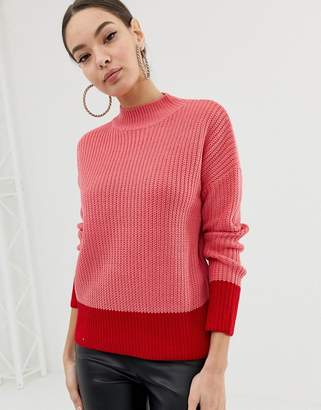 Lipsy roll neck jumper with fluted sleeve in colour block