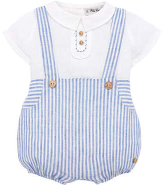 Carrera Pili Ticking Striped Suspender Trousers w/ Blouse, Size 3M-2