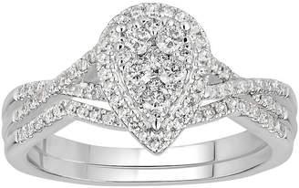 MODERN BRIDE Womens 1/2 CT. T.W. Genuine White Diamond 10K White Gold Bridal Set