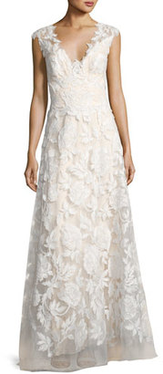 Tadashi Shoji Sleeveless Embroidered Tulle Gown, White $998 thestylecure.com
