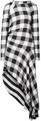 Monse Asymmetric Gingham Crepe De Chine Midi Dress - Black
