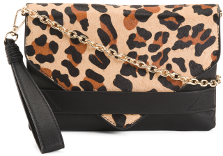 Faux Calfhair Front Flap Wristlet And Clutch