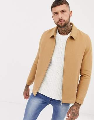 Asos DESIGN wool mix zip through jacket in camel