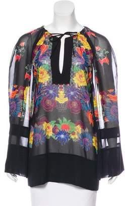 Just Cavalli Floral Print Chiffon Blouse