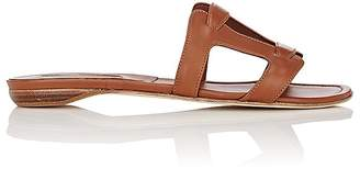 Manolo Blahnik Women's Grella Leather Slide Sandals $625 thestylecure.com