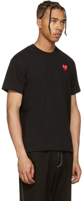 Comme des Garçons Play Black & Red Heart Patch T-Shirt 3