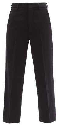 Raey Flood Crop Wool Twill Tailored Trousers - Womens - Navy