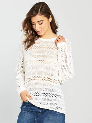 Noisy May Tam Long Sleeve Crochet Knit Jumper - Snow White