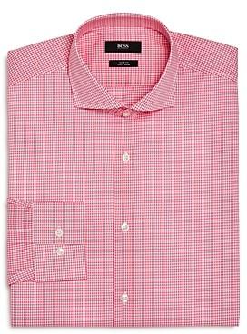 Mini-Checked Slim Fit Dress Shirt