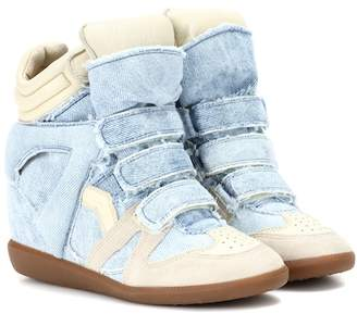 Isabel Marant Bekett denim wedge sneakers