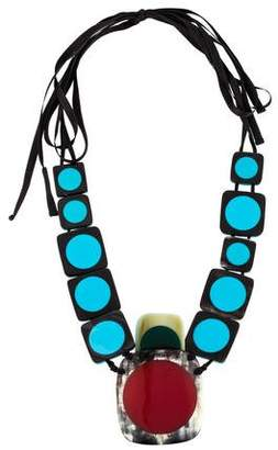 Marni Horn & Resin Colorblock Necklace
