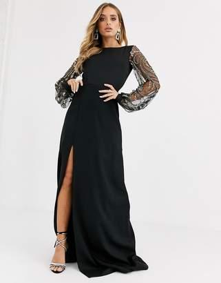 Virgos Lounge sheer long sleeve maxi dress with thigh split in black