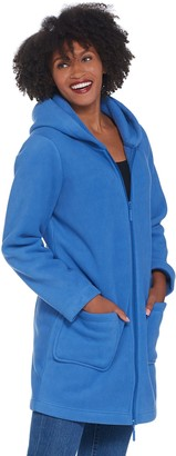 Denim & Co. Fleece Zip Front Jacket with Sherpa Lining and Hood