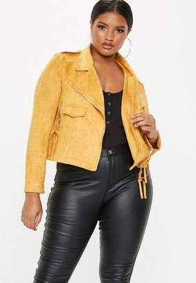 Missguided Plus Size Mustard Suede Biker Jacket
