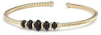 David Yurman Rio Rondelle Cabled Cuff Bracelet with Black Onyx in 18K Gold