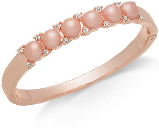 Charter Club Rose Gold-Tone Pave & Imitation Pearl Bangle Bracelet, Created for Macy's