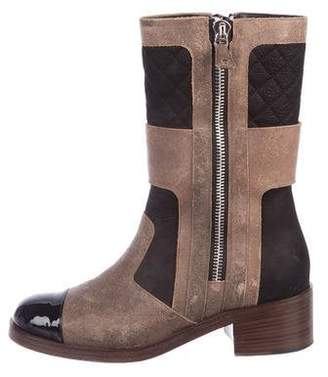 Chanel Quilted Suede and Leather Mid-Calf Cap-Toe Boots