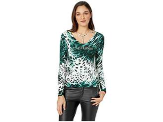 Bebe Triple Strap 3/4 Sleeve Top Women's Long Sleeve Pullover