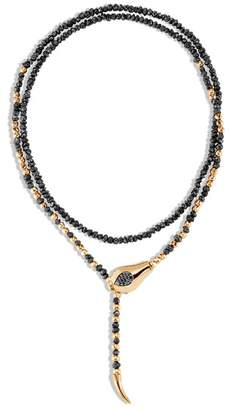 John Hardy Cobra Necklace With Black Spinel And Black Rough Diamond
