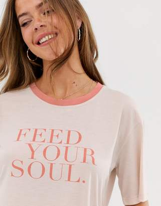 Neon Rose relaxed ringer t-shirt with soul slogan