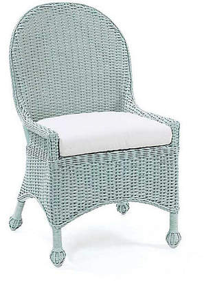 One Kings Lane Eastern Shore Wicker Side Chair - Sky Blue