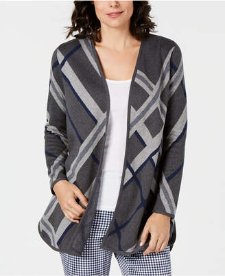 Charter Club Plaid Open-Front Cotton Cardigan