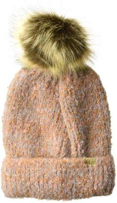 D&Y Women's David & Young's Super Soft Marled Knit Beanie with Fur pom