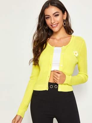 Shein Neon Yellow Appliques Detail Cardigan