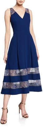 Aidan Mattox V-Neck Sleeveless Crepe Midi Dress w/ Sheer Lace Insets