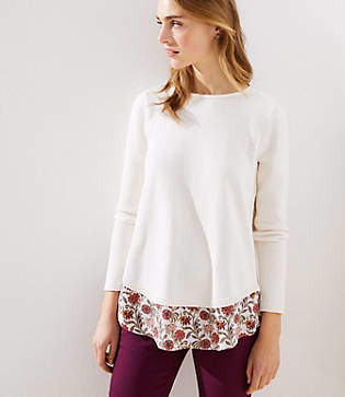 LOFT Floral Mixed Media Tie Back Sweater