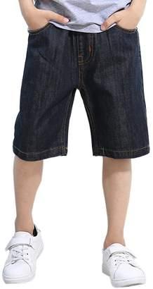 LOKTARC Big Boys' Elastic Waist Jean Shorts with Printed Pocket 9-10T