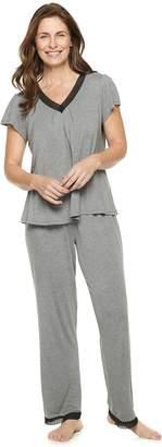 Croft & Barrow Women's Printed Lace-Trim Tee & Pants Pajama Set