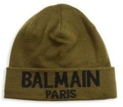 Balmain Linen Cashmere Logo Beanie