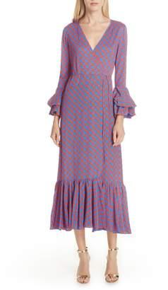 Diane von Furstenberg Chain Link Ruffle Sleeve Wrap Dress