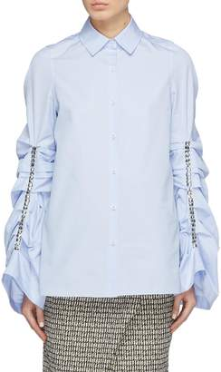 Swarovski Monographie crystal ruched sleeve shirt