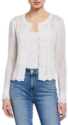 Rebecca Taylor Crimp Cotton Cardigan with Pointelle Sleeves