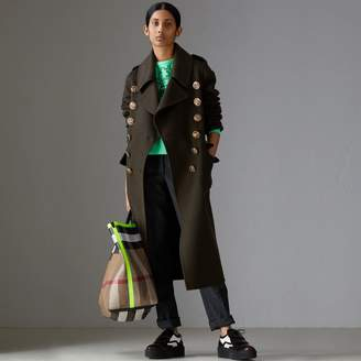 Burberry Bird Button Cashmere Wool Military Coat