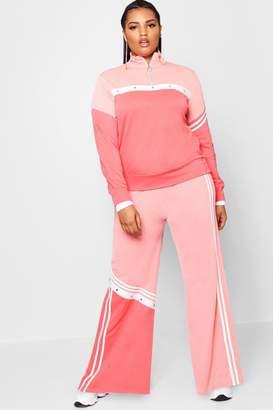 boohoo Plus Stripe Popper Wide Leg Trouser