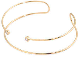 18k Gold Plated Brass Cz Double Wire Cuff Bracelet
