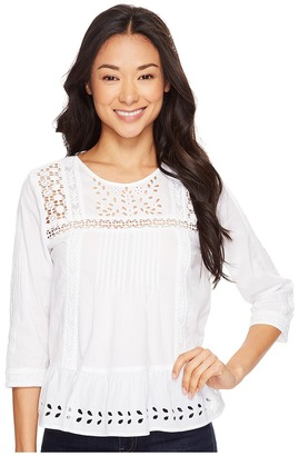 Lucky Brand - Eyelet Peasant Top Women's Blouse $89.50 thestylecure.com