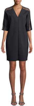 Escada Sport V-Neck Elbow-Sleeve Crepe Dress w/ Lace