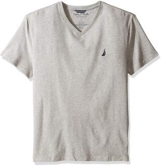 Nautica Men's Short Sleeve Solid Slim Fit V-Neck T-Shirt, Grey Heather
