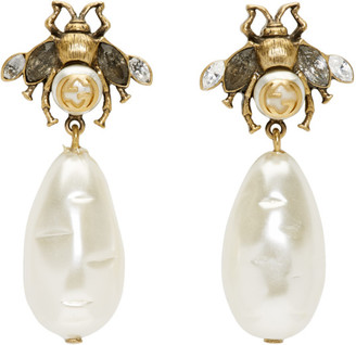 Gucci Gold Pearl Bee Drop Earrings