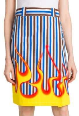 Prada Flame Striped Pencil Skirt